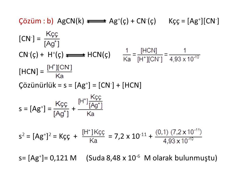 Çözüm : b) AgCN(k) Ag+(ç) + CN-(ç) Kçç = [Ag+][CN-]